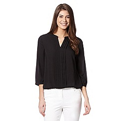 The Collection Petite - Petite black pleat front crepe top