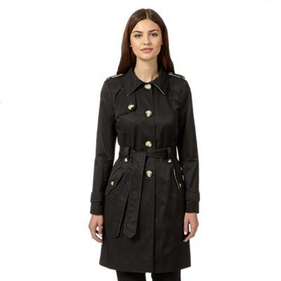 The Collection Black self tie mac coat