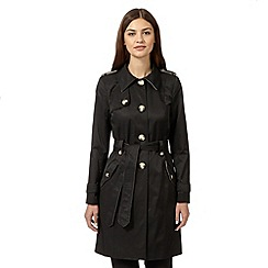 The Collection - Black self tie mac coat