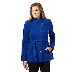 The Collection - Royal blue belted stand collar jacket