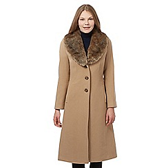 The Collection - Beige wool blend faux fur coat