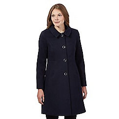 The Collection - Navy faux fur collar dress coat