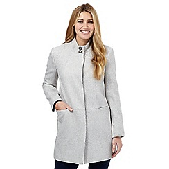 The Collection Petite - Light grey stand up collar coat