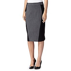 The Collection - Grey textured panel skirt