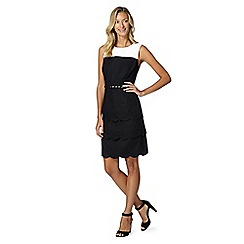 The Collection Petite - Petite black scalloped layer linen blend dress