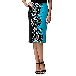 The Collection - Turquoise floral block skirt