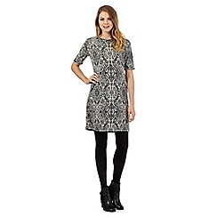 The Collection - Black mirrored print textured zip detail dress
