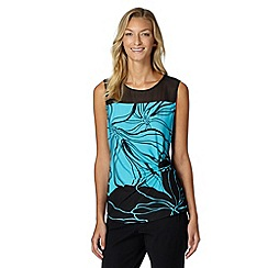 The Collection - Turquoise two tone floral wrap top