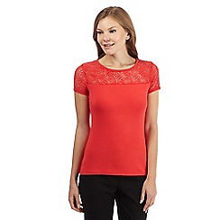 The Collection - Coral rose lace yoke top