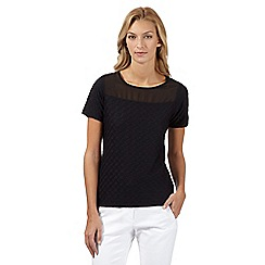 The Collection - Black textured jersey top