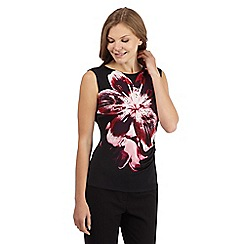 The Collection Petite - Black lily graphic jersey top