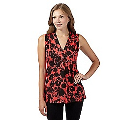The Collection - Coral shadow floral jersey top
