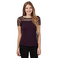 The Collection - Dark purple scalloped lace yoke top