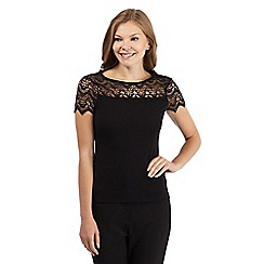 The Collection - Black scalloped lace yoke top