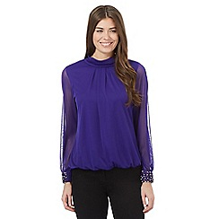 The Collection - Purple roll neck embellished cuff detail top