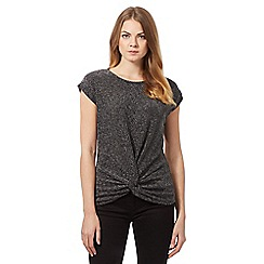 The Collection Petite - Grey sparkle twist detail top