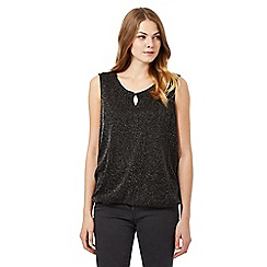 The Collection - Black glitter bubble hem top