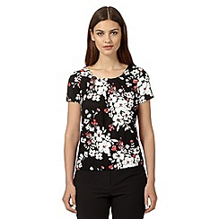 The Collection - Black floral pleated top