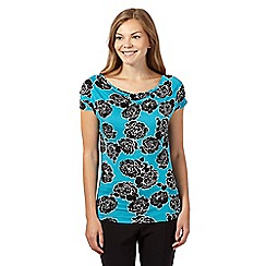 The Collection - Turquoise rose print cowl neck top