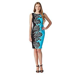 Turquoise floral block dress