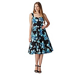 The Collection - Black large floral print prom dress