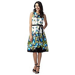 The Collection - Turquoise floral belted dress