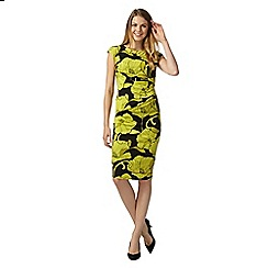 The Collection - Yellow sketched floral jersey dress