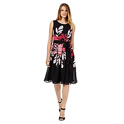 The Collection Petite - Petite black placement floral prom dress