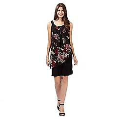 The Collection - Black floral asymmetric layer dress