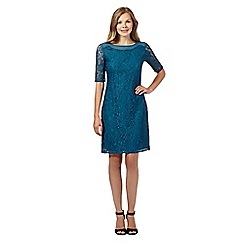 The Collection - Dark turquoise floral lace shift dress