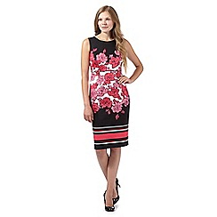 The Collection - Coral placement floral and stripe dress