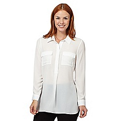 The Collection Petite - White pocket crepe shirt