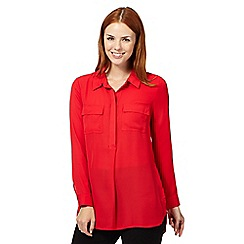 The Collection - Red pocket crepe shirt