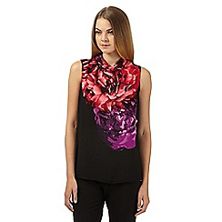 The Collection - Black floral fold over collar top