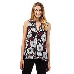 The Collection Petite - Petite dark purple floral pleat top