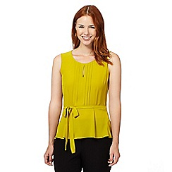 The Collection - Lime pleated peplum self tie waist top