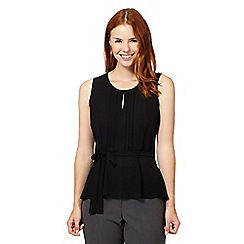 The Collection - Black pleated peplum self tie waist top