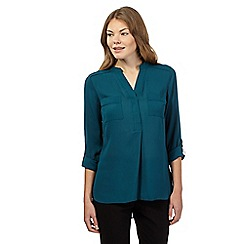 The Collection - Dark turquoise collarless utility shirt