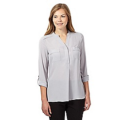The Collection Petite - Grey collarless utility shirt