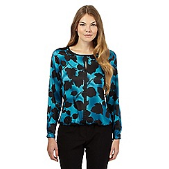 The Collection - Turquoise floral bubble hem top