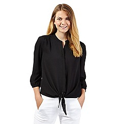 The Collection - Black crepe tie front blouse