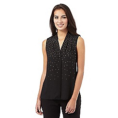 The Collection Petite - Black graduated diamante top