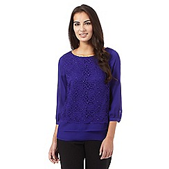 The Collection - Purple lace insert layered effect top