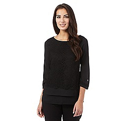The Collection Petite - Black lace insert layered effect top