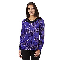 The Collection - Purple floral print beaded neck top