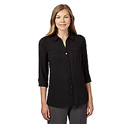 The Collection - Black roll cuff utility shirt