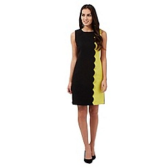The Collection Petite - Black colour block scalloped dress