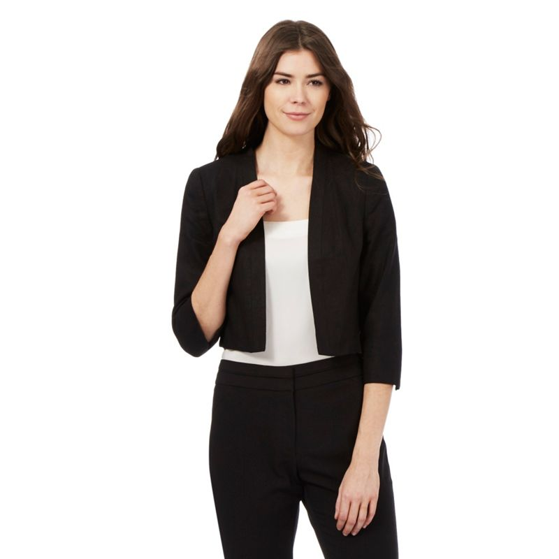 The Collection Black Linen Blend Bolero Jacket, Womens