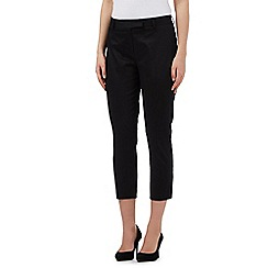 The Collection Petite - Black cropped sateen trousers