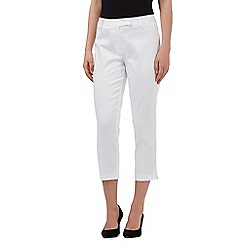The Collection - White cropped sateen trousers